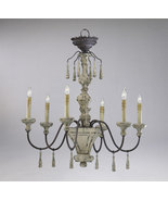 IRON and DISTRESSED WOOD 6 Light Chandelier, Pr... - $485.00