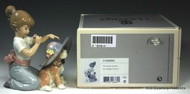 """NEW LLADRO """"AN ELEGANT TOUCH"""" - LITTLE GIRL TRYING HAT ON PUPPY - FLOWER... - $246.51"""