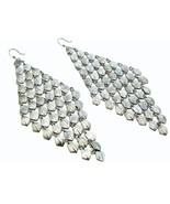 Chunky fish hook long chandelier fashion earrings pierc - $13.85