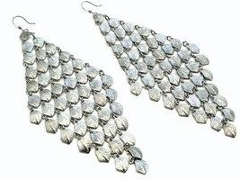 Chunky fish hook long chandelier fashion earrings pierc image 2