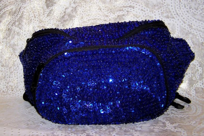 Primary image for SAPPHIRE BLUE SEQUIN EVENING DISCO FANNY PACK BAG BELT