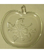 Apple Tray Platter Clear Glass with Flowers Small - $9.95