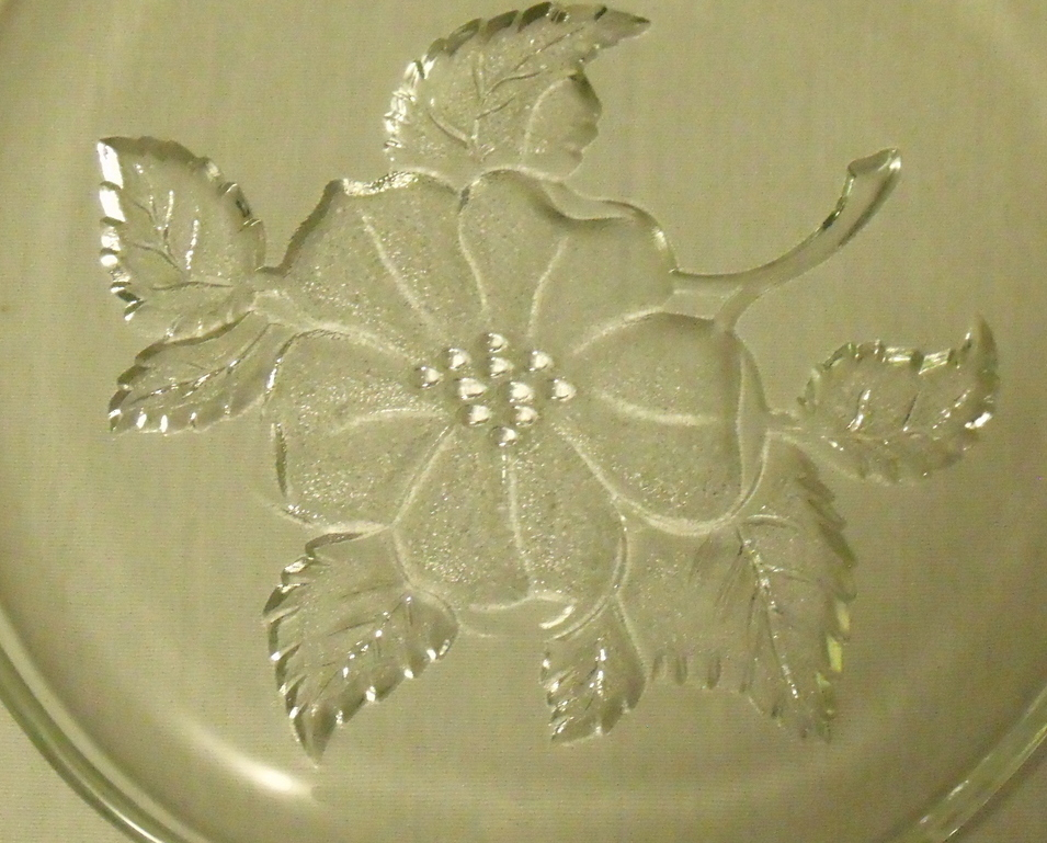 Apple Tray Platter Clear Glass with Flowers Small