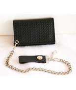 Black Leather Tri-Fold Wallet Weave Embossed Xl... - $27.99