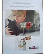 Martini & Rossi Lady In Fur With Cat Print Magazine Advertisement 1968 - $5.99