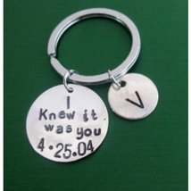 Personalized Keychain,I Knew it was you,Boyfriend keychain,Gift for Groom - $12.00