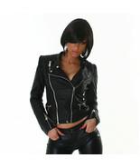 Women's Leather look Biker Jacket Black UK 6-12 - $36.36