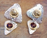 Brown Amber Crystal Earrings Semi Precious Stone Clip-on Triangle