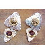 Brown Amber Crystal Earrings Semi Precious Stone Clip-on Triangle - $89.00