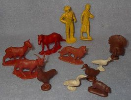 Vintage 12 piece Rubber Farmer and Animals Set Made in USA Vintage Toy Colorful - $12.95