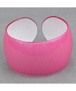 Bangle Bracelet Lucite Cuff Iridescent Pink Translucent Sparkle - $9.99