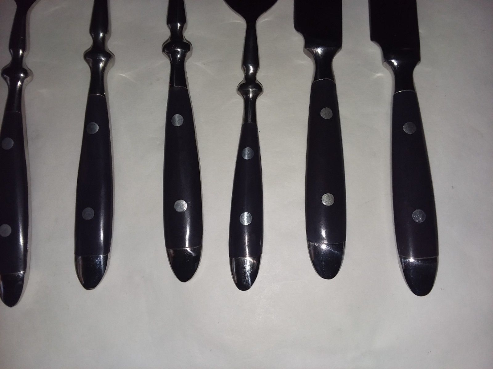 Set of 12 Deep Purple Resin Stainless Flatware Spoons Forks Knives Set
