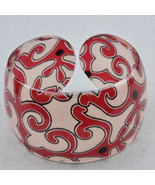Bangle Bracelet Lucite Deep Red Swirls Black Dots - $9.99