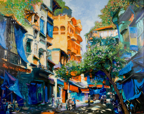 Morning Street, Phuongs Vietnamese hand painted oil paint