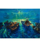"""Night at the Bay, 24"""" X 36"""" Phuong commission original oil painting on c... - $399.00"""