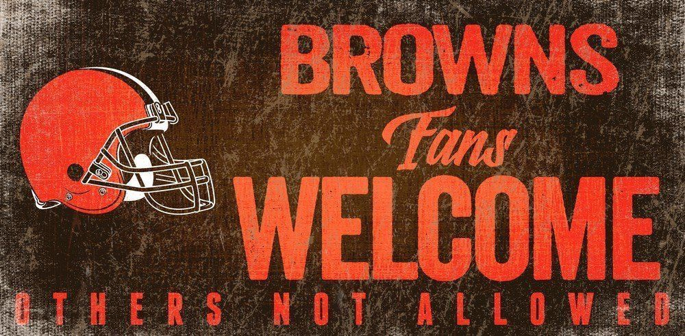 "CLEVELAND BROWNS FANS WELCOME WOOD SIGN with ROPE 12"" X 6"" NFL FOOTBALL MAN CAVE"