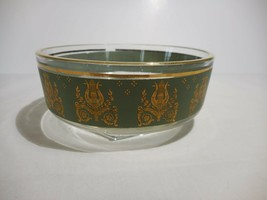 Jeannette Glass Laurel & Lyre Gold on Green Small Dish Pattern 701-25  4... - $9.99