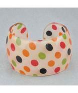 Bangle Bracelet Lucite Multi Color Polka Dots Orange Red Lime Green Blac... - $9.99
