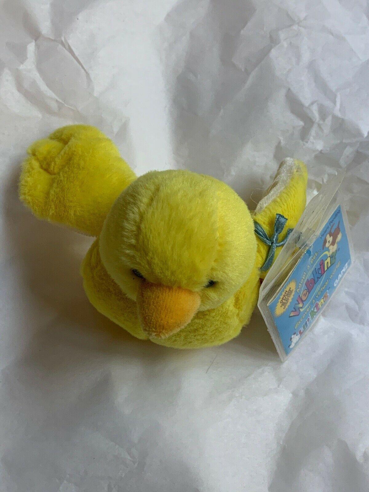 ganz webkinz lil kinz yellow canary bird plush w Code Card • Used Doll Toy Cute image 2