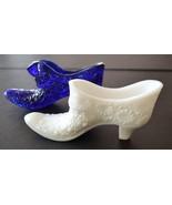 Vintage two shoes white milk art glass blue art glass shoe - $12.46