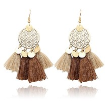 2018 Bohemia Vintage Ethnic Tassel Dangle Stud Round Sequin Earrings Pen... - $4.28