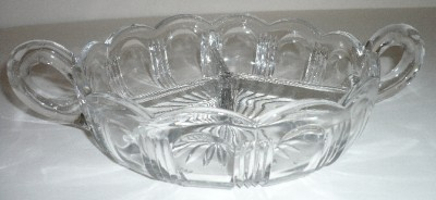 Brilliant Cut Crystal Candy/Nut  Bowl Handles &Sections