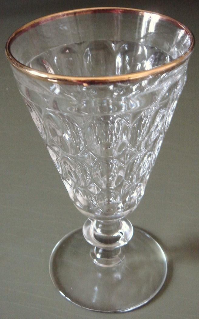 Jeannette gold rim goblet