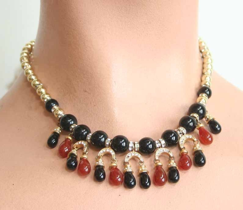 Primary image for Christian Dior 60s Rhinestone Sim Carnelian Necklace
