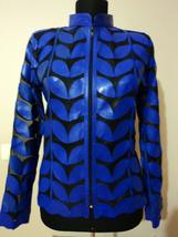 Plus Size Blue Leather Leaf Jacket Women All Colors Sizes Genuine Short Zip Up - $115.00