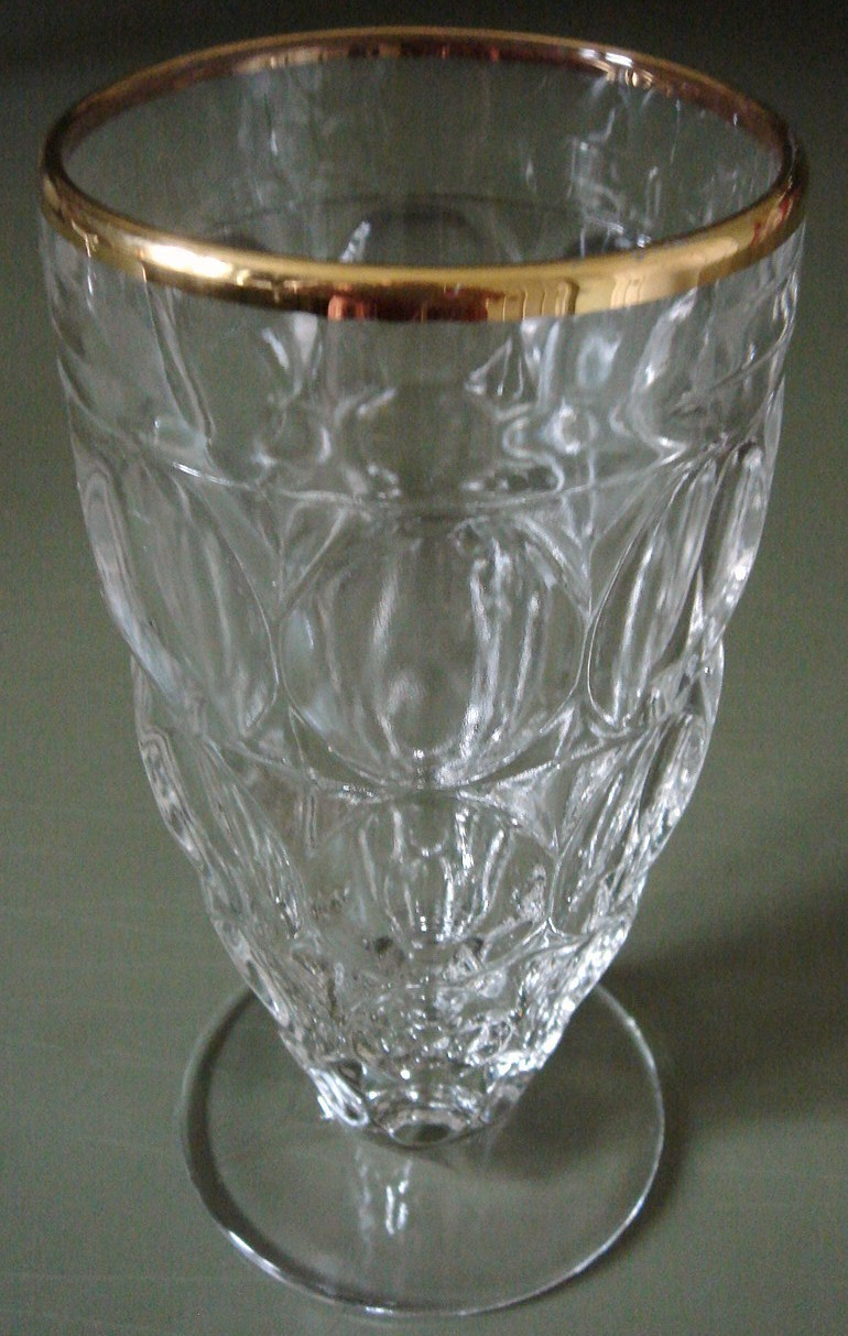 THUMBPRINT Footed Tumbler Gold Rim Jeannette Glass Co