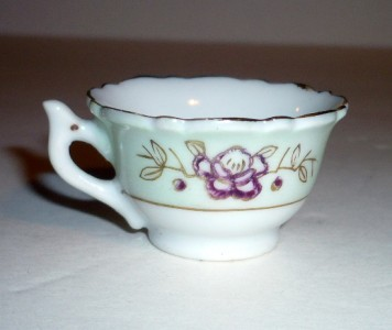 Minature, Floral Tea Cup, Green & White, Purple, Gold