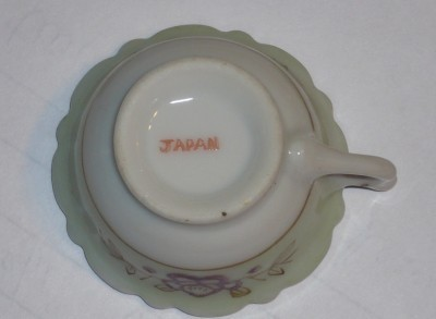Minature, Floral Tea Cup, Green & White, Purple, Gold