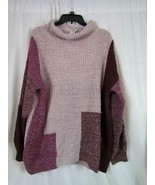 NWT American Rag Cowl Neck Pale Mauve Color Block Sweater Tight Knit Org... - $35.14
