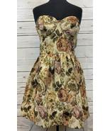 Black Swan Tapestry Floral Print Strapless Cocktail Dress Size Large L N... - $44.44
