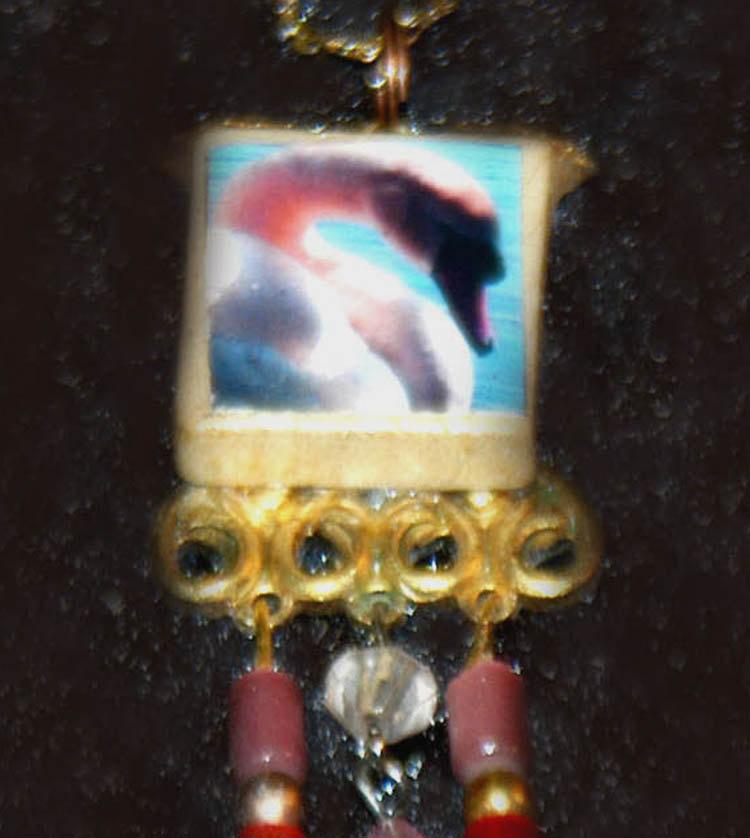 original art pendant -Swan lake in Pink