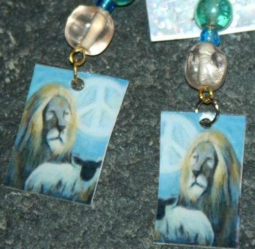 original art beaded earrings- Peace Lion and Lamb, green bea