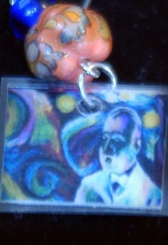 original art  drawing earrings artist Dali/ Van Gogh