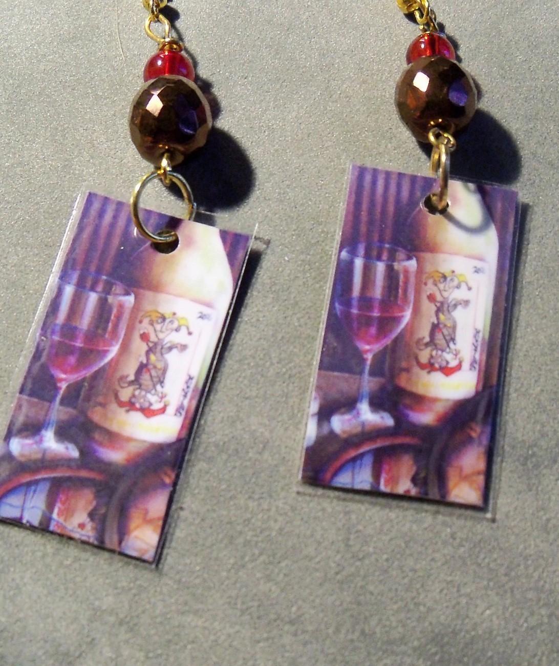 original art  drawing earrings jester  wine