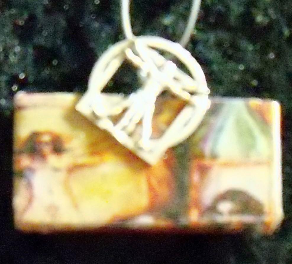 original art domino pendant daVinci Vitruvian man