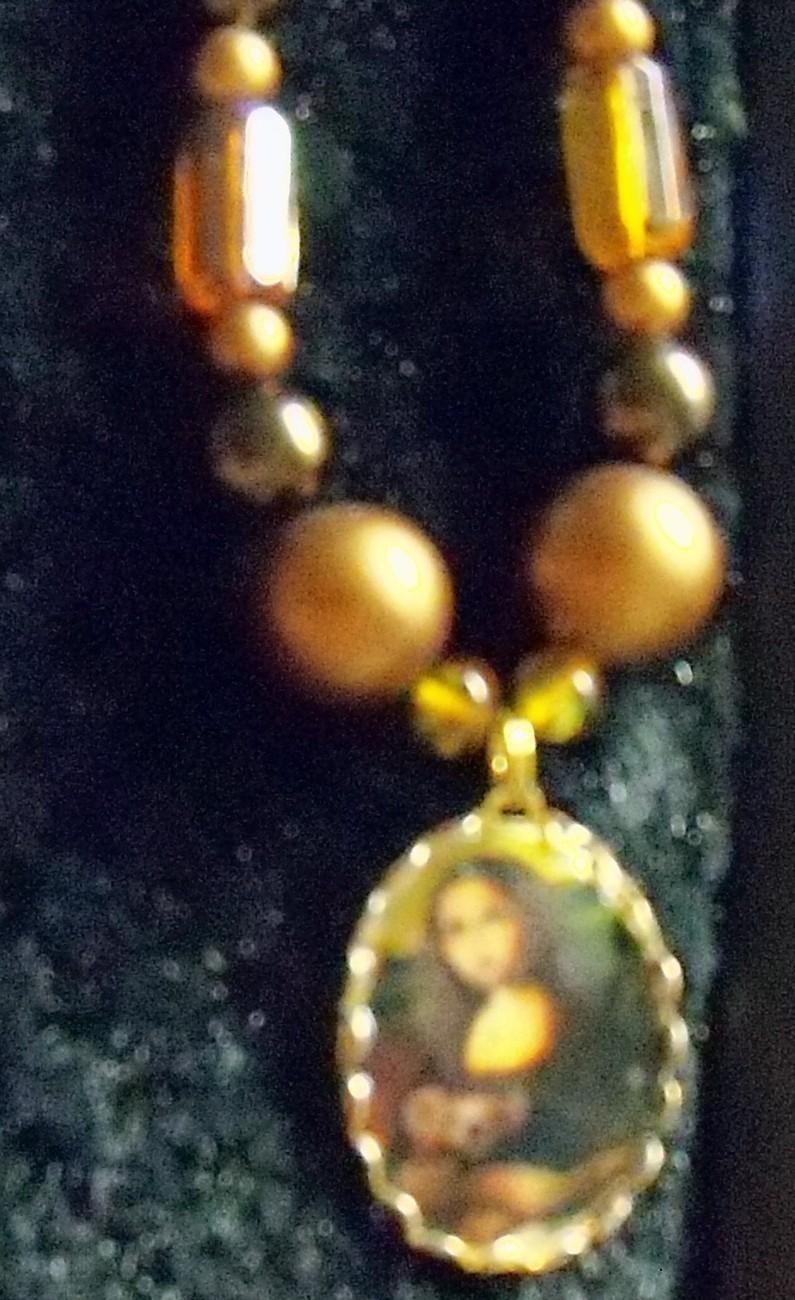 original art domino beaded pendant Mona and her Teddy Bear r