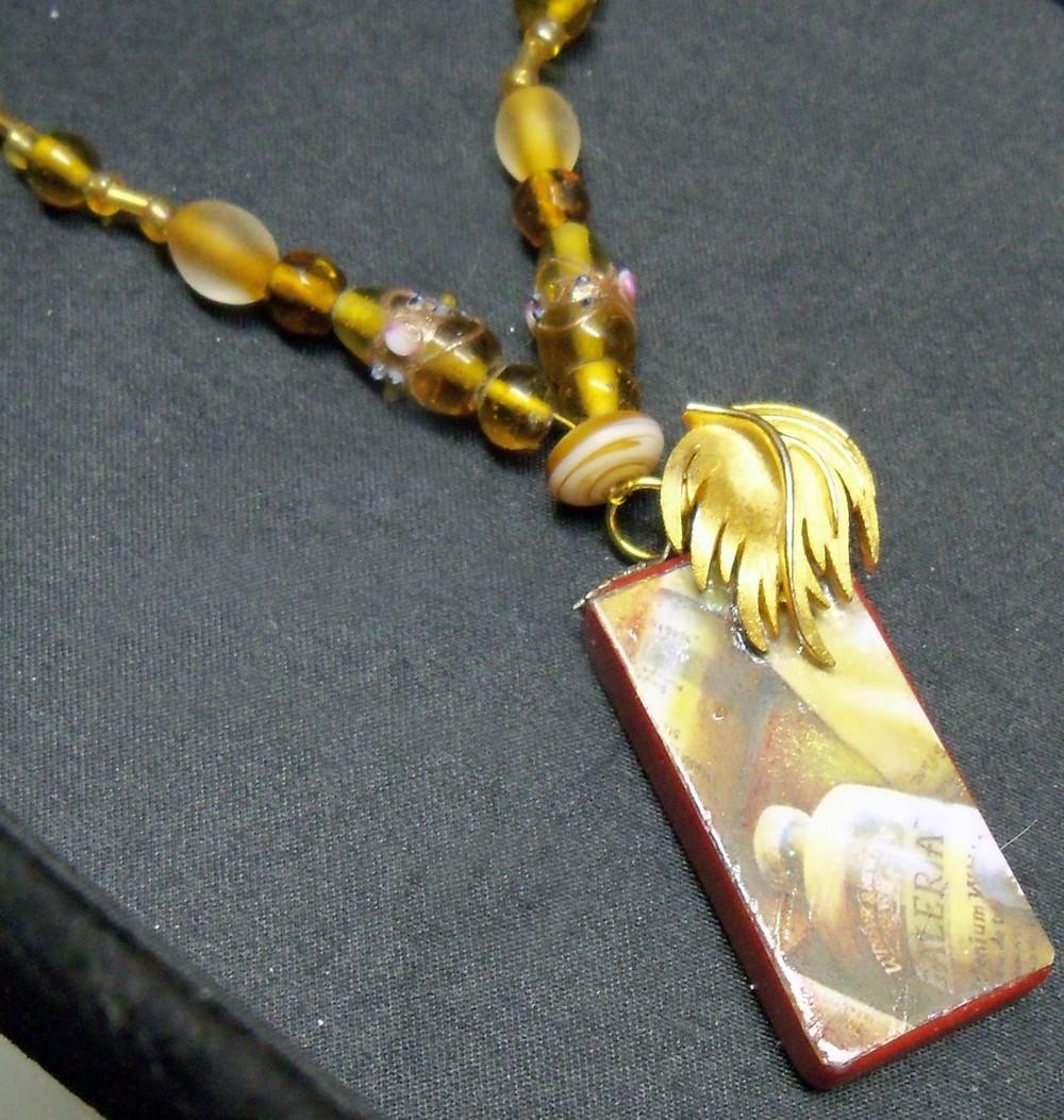 original art domino pendant recycled amber artist paint tube