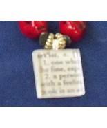 original glass tile pendant vintage beads red a... - $29.99