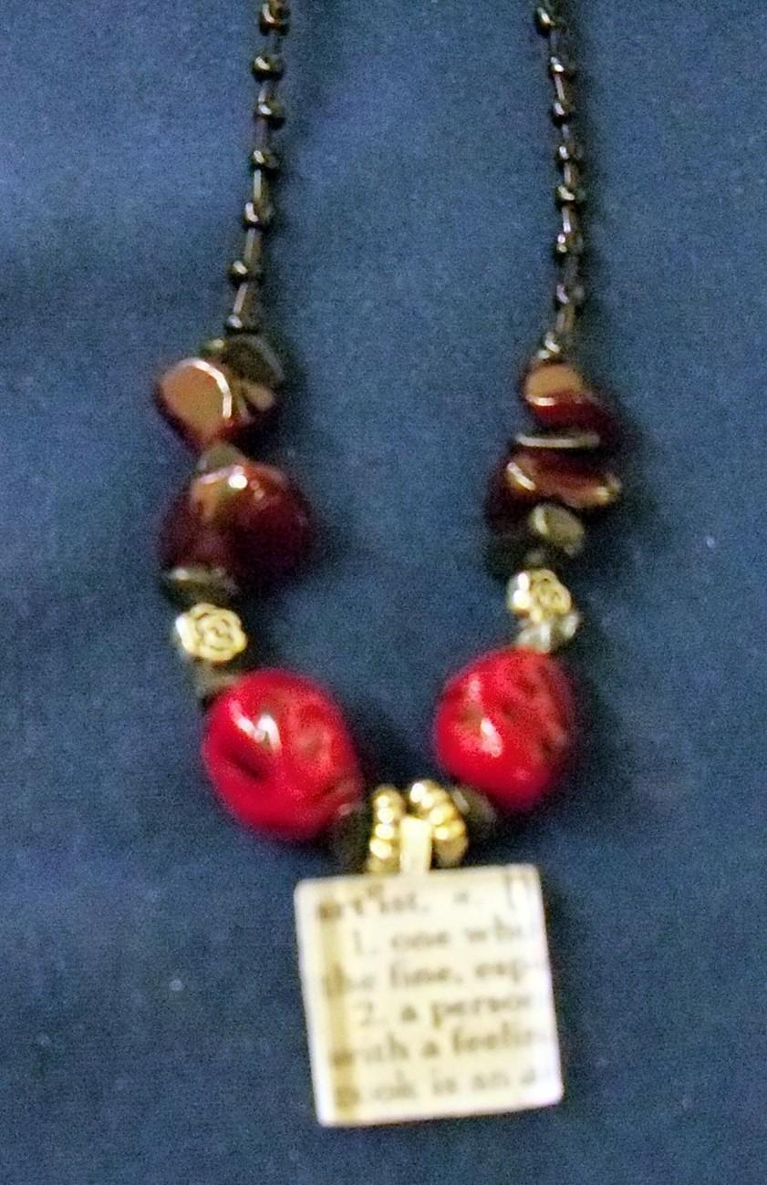 original glass tile pendant vintage beads red artist