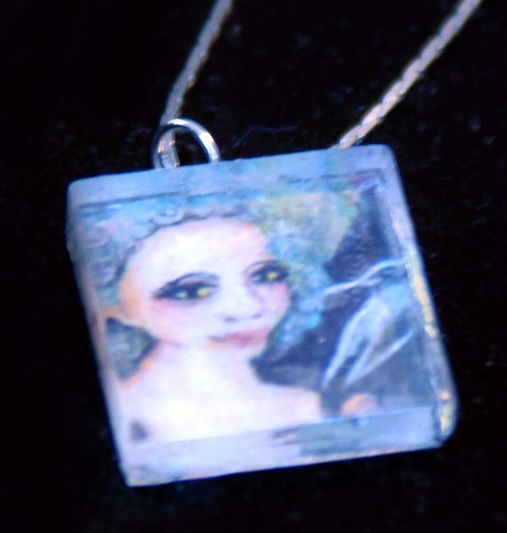 original art pendant glass tile necklace punk marie Antoinet
