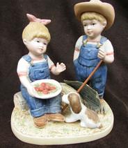 Denim Days 1507 Summer Harvest figurine Danny  & Debbie with puppy - $9.95
