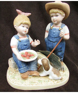 Denim Days 1507 Summer Harvest figurine Danny  & Debbie with puppy - $11.50