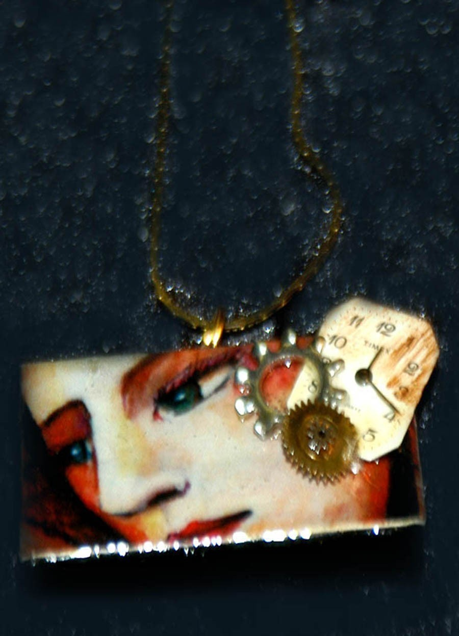 unique art domino pendant woman face watch steam punk