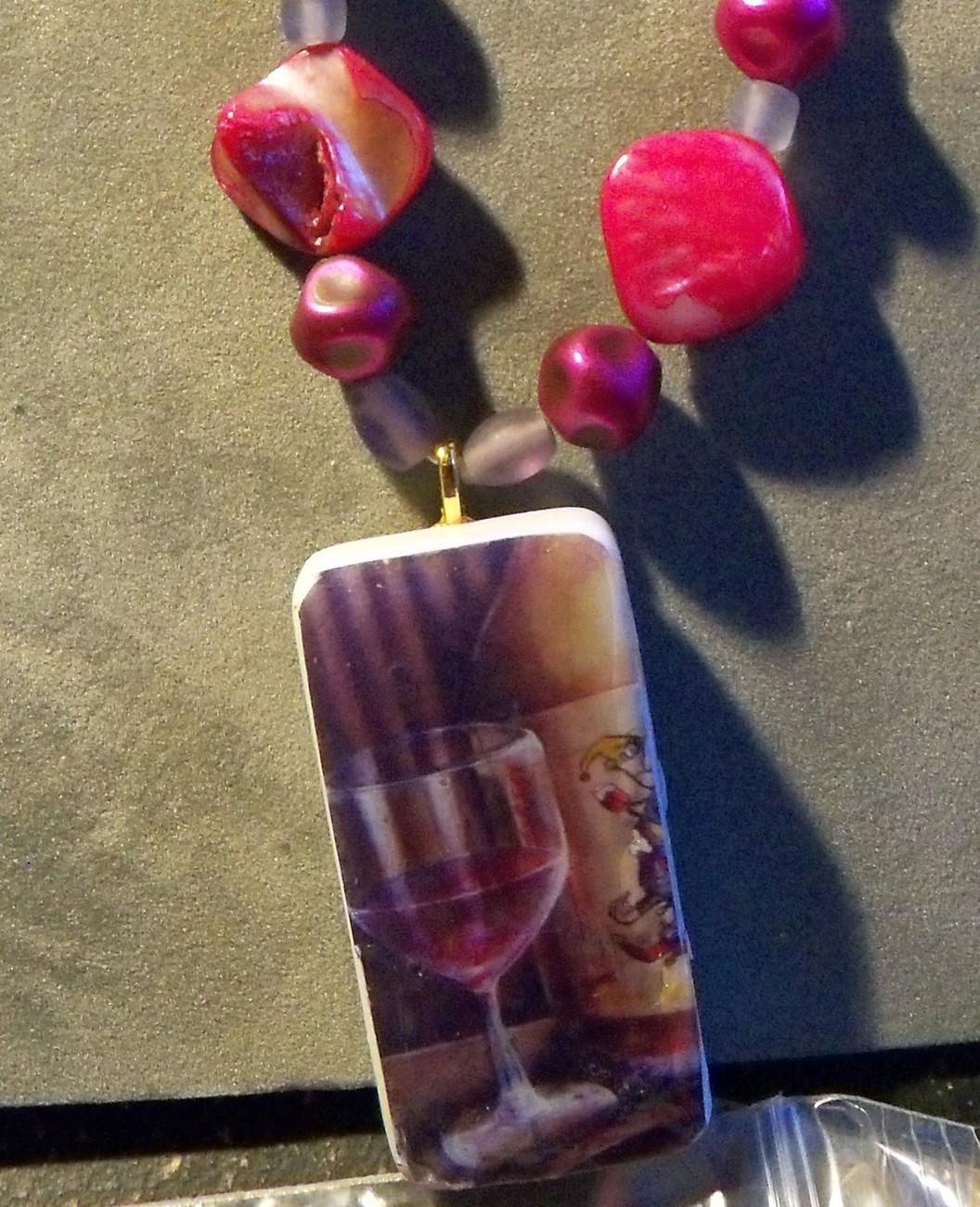 original art drawing domino art pendant necklace wine glass