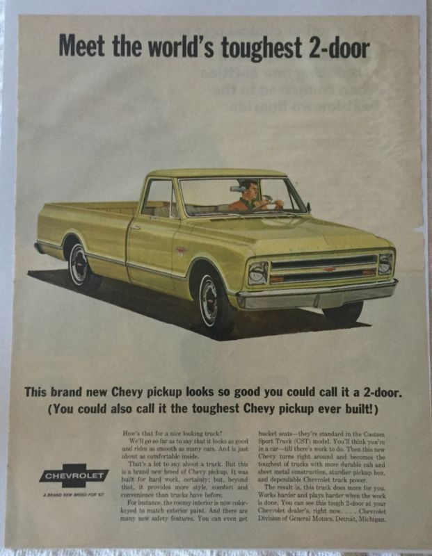 Primary image for Vintage 1967 Chevrolet Chevy Pickup Truck CST Magazine Advertisement Ad Sealed!