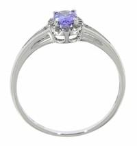 Tanzanita Piedra de Nacimiento 14k Oro Blanco 0.38 Ct Natural Halo Diamante - $176.95